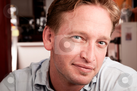 Handsome Man stock photo, Close up portrait of handsome blonde man by Scott Griessel