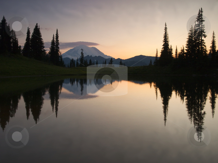 Peaceful stock photo, The placid and peaceful waters of Upper LAke Tipsoo as dusk settles over Mt. Rainier by Mike Dawson