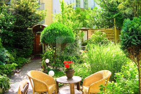 Garden stock photo, Garden patio by Jaime Pharr
