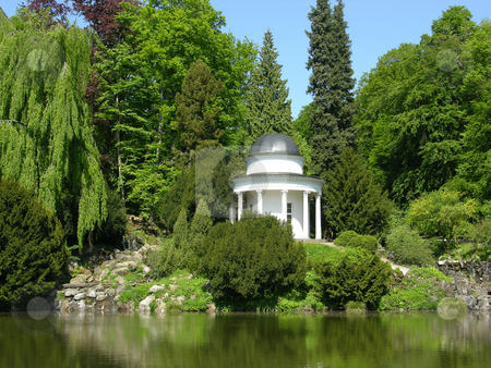 Ancient pavilion in a magnificent park scenery stock photo, Ancient pavilion in a magnificent park scenery by Robert Biedermann