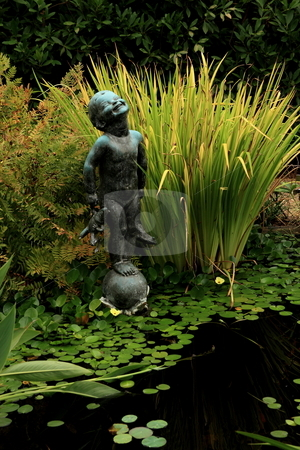 Water Gardeen stock photo, Water garden blended with shades of yellow and green by Jack Schiffer
