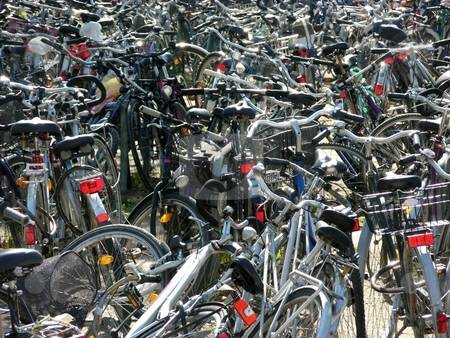 Bike parking stock photo, Bike parking by Robert Biedermann