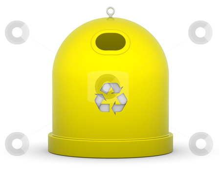 Plastic Recycle Bin stock photo, Yellow recycle bin for plastic in a white background by Nuno Andre