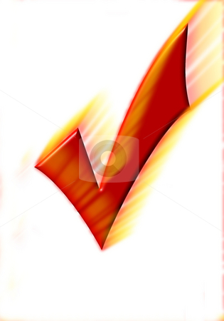 Red hot checkmark stock photo, Illustration of a red check mark by Monica Boorboor