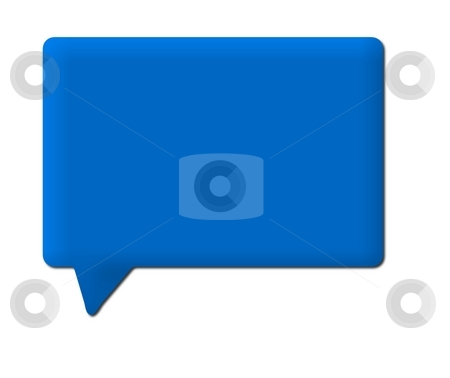Speech Bubble Blue stock photo, Blue speech bubble on white background by Henrik Lehnerer
