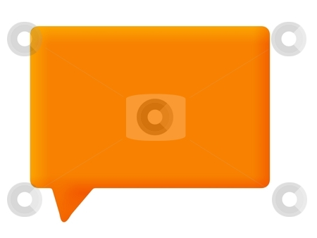 Speech Bubble Orange stock photo, Orange speech bubble on white background by Henrik Lehnerer