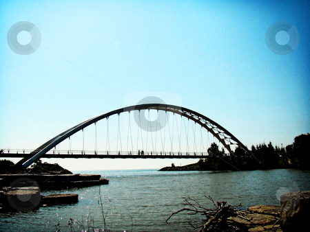 Large Span Bridge stock photo, Large span pedestrain bridge spans part of Lake Ontario by CHERYL LAFOND