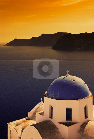 Church in Santorini stock photo, Picture of a Greek Orthodox church on the island of Santorini by Andreas Karelias