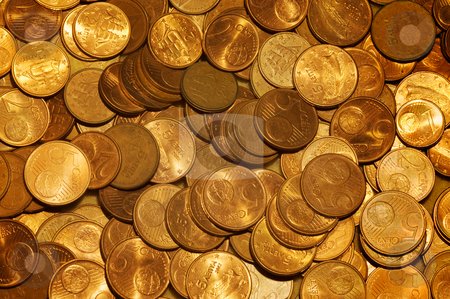 Coins stock photo, Image shows a pattern of euro cent coins by Andreas Karelias