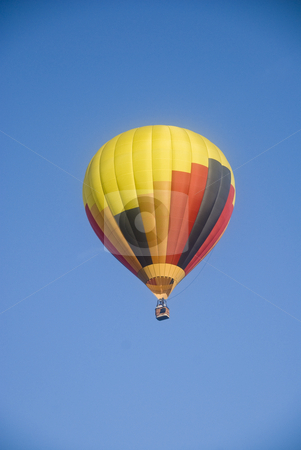 Hot Air Balloon stock photo, Hot Air Baloon against blue sky, space for text top and bottom by June Cairns