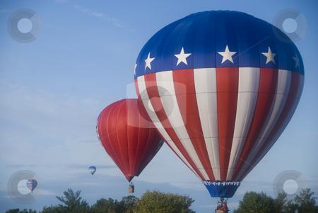 Hot Air Balloons stock photo, Hot air balloons early morning flight by June Cairns
