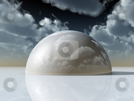 Hemisphere stock photo, White hemisphere under dark cloudy sky - 3d illustration by J?