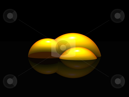 Yellow bubbles stock photo, Abstract yellow construction  on black background - 3d illustration by J?