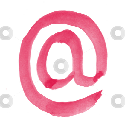 Painted email alias stock photo, Red painted email alias on white background by J?