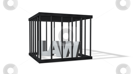 Law stock photo, The word law in a cage on white background - 3d illustration by J?