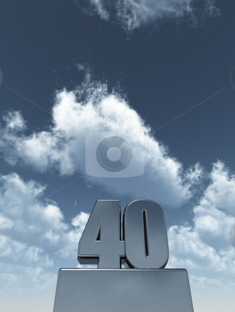 Metal forty stock photo, Metal forty - 40 - in front of cloudy blue sky - 3d illustration by J?