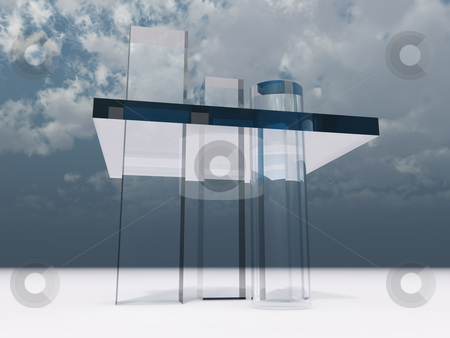 Abstract glass tower stock photo, Abstract glass tower under cloudy sky - 3d illustration by J?