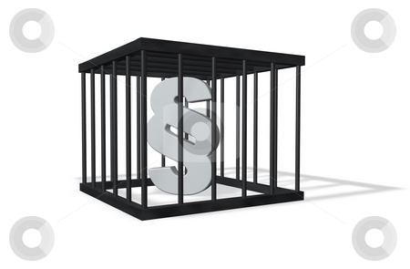 Law stock photo, Paragraph symbol in a cage on white background - 3d illustration by J?