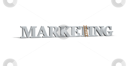 Marketing stock photo, The word marketing and a ladder on white background- 3d illustration by J?
