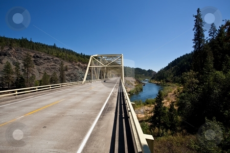 Rogue River Bridge stock photo, Steel bridge on Rogue River near Merlin, Oregon by Mariusz Jurgielewicz
