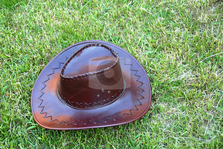 Brown cowboy hat stock photo, Brown leather cowboy hat on green grass by Julija Sapic