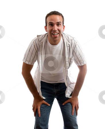 Child's View stock photo, A view of a man bent over smiling taken from a young child's point of view, isolated against a white background by Richard Nelson