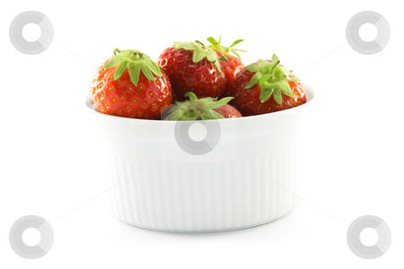 Strawberries in a White Dish stock photo, Juicy ripe red strawberries in a small round white dish on a white background by Keith Wilson