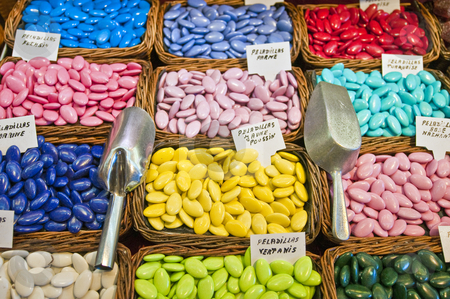 Candy stand stock photo, Candy stand at Boqueria Market in Barcelona, Spain. by Anibal Trejo