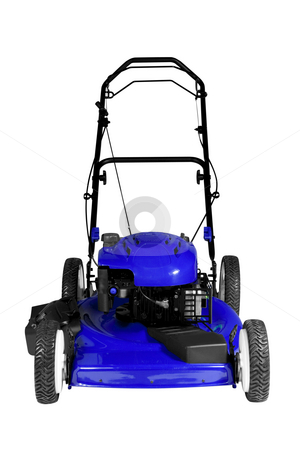 Lawnmower Isolated stock photo, An isolated lawnmower on a white background. by Travis Manley
