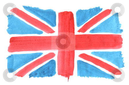 Union jack stock photo, Hand painted uion jack on white background by J?