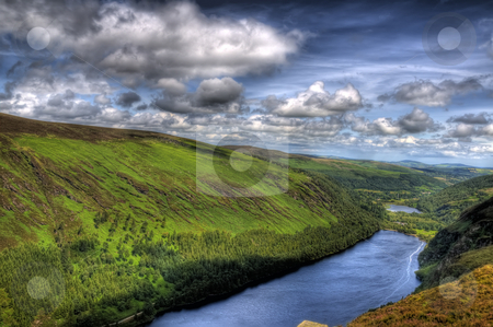 The Great Lake of Glendalough stock photo, A high angle image of the largeer of the two lake in Glendalough by Stephen Kiernan