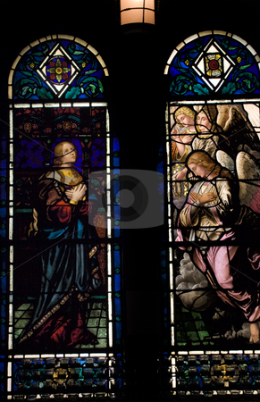 Stained Glass Saint Bartholomew's Episcopal Church New York City stock photo, Stained Glass of Angels and Holy Woman, Saint Bartholomew's Episcopal Church Park Avenue New York City  Glass by Hildreth Meiere and finished in 1920. by William Perry