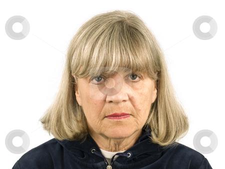 Upset Senior Woman stock photo, Upset Senior Woman on a white Background by John Teeter