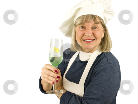 Senior with Wine stock photo, Senior Chef with Wine on a White Background by John Teeter
