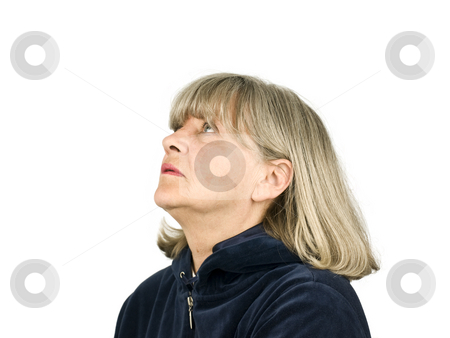 Senior Woman Looking up stock photo, Senior woman looking up on a white background by John Teeter