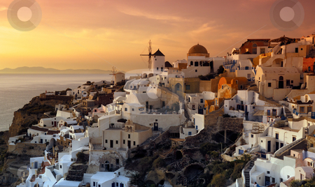 The village of Oia, Santorini, Greece stock photo, The beautiful and uniue village of Oia on the Greek island of Santorini, photographed during a majestic late afternoon by Andreas Karelias