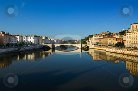 The city of Lyon in France stock photo, Image shows the river Saone running through the city of Lyon in France by Andreas Karelias
