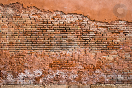 Brick Wall Detail stock photo, Red brick wall in Venice, Italy. by Holger Feroudj