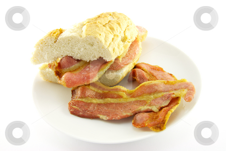 Cooked Breakfast Items on a Plate stock photo, Delicious cooked breakfast items with baguette on a plate on a white background by Keith Wilson