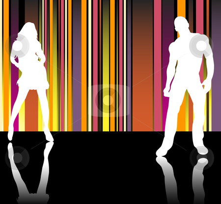 Catwalk Stripes stock vector clipart, Sexy couple silhouettes in front of striped background by Augusto Cabral Graphiste Rennes