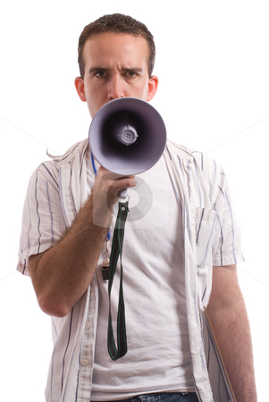 Coaching stock photo, A young coach is talking into a megaphone, isolated against a white background by Richard Nelson