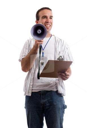 Coach stock photo, A friendly coach is holding his clipboard and a megaphone trying to promot teamwork, isolated against a white background by Richard Nelson
