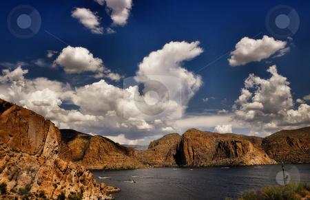 Apache lake arizona stock photo, Scenic view of apache lake in arizona by Monica Boorboor