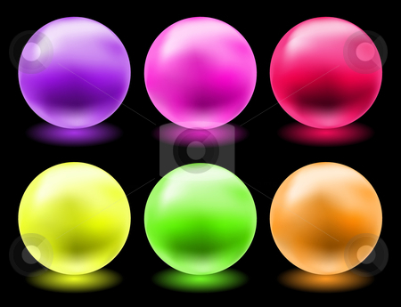 Glowing glass spheres stock vector clipart, Set of glowing magic glass balls for individual use by danielboom