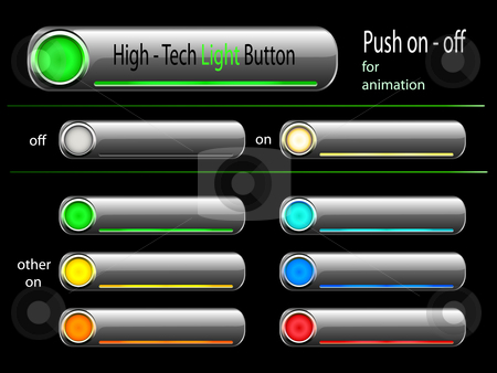 Vector - on and off high tech button stock vector clipart, Web light button - good for flash animation - push on or off - illuminated in different colors by danielboom