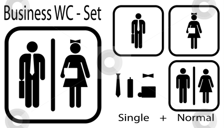 Office WC Set - vector stock vector clipart, WC icon for business people + normal icon by danielboom