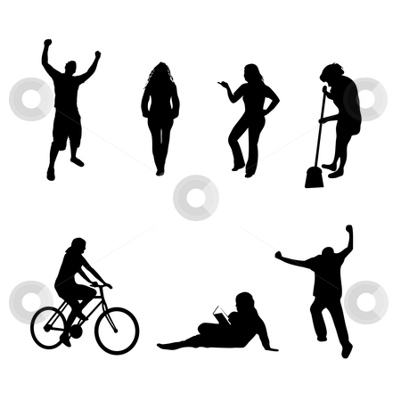 People Silhouettes Collection stock photo, A collection of people silhouettes in different poses isolated over white.  All silhouettes were traced from photos found in my portfolio. by Todd Arena