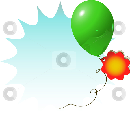 Sale sign green balloon stock vector clipart, Vector illustration for celebration or advertisement with green balloon and flower card by danielboom