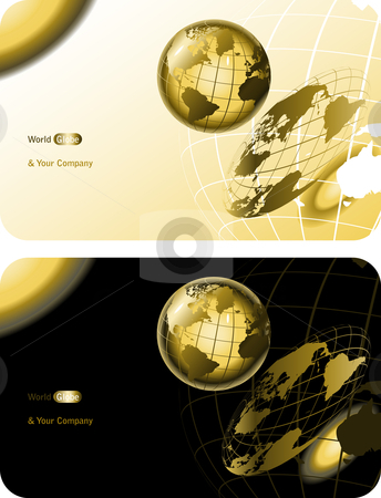 Noble business card stock vector clipart, Scientific background with golden world globe for companies by danielboom