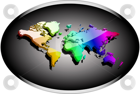 Noble business 3d world  stock vector clipart, Earth map 3d rainbow colored with reflective surface by danielboom